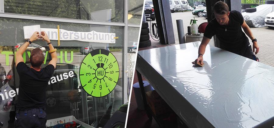 Beklebung: Schaufenster & Pylon